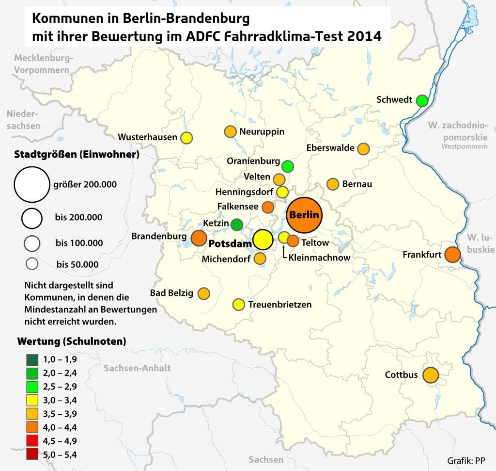 Kommunen in Berlin-Brandenburgmit ihrer Bewertung im ADFC-Fahrradklima-Test 2014