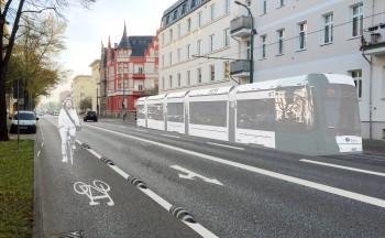 Die Zeppelinstraße soll zugunsten von Fahrrad und ÖPnV von vier auf zwei Autospuren verengt werden. Foto: Stadt Potsdam