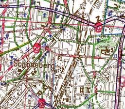 Charakteristisch für die 80er Jahre: An gefährlichen Stellen prangen auf dem Fahrrad- Atlas der Grünen Radler Totenschädel ... Der ADFC wandelt den Plan später ins Positive und zeichnet gut befahrbare Routen ein. Die Geburt des ADFC Fahrradstadtplans Berlin.