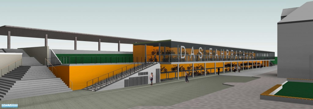 So soll das neue Fahrradparkhaus aussehen Abbildung: Gruppe PLANWERK