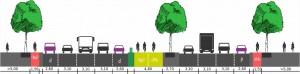 Abb. 1: Auf der Bismarckstraße wäre ein Radschnellweg in Mittellage möglich. (Abb.: Henri de Vries)