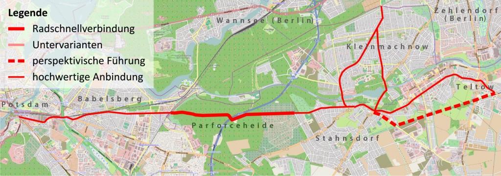 Geplante Radschnellverbindung von Potsdam nach Stahnsdorf. Abbildung: Landeshauptstadt Potsdam / ADFC Berlin